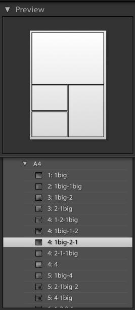 Imported A4 print templates in Lightroom